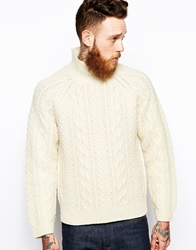 Levi's Levis Vintage Clothing Rollneck Knit Jumper Heavy Guage Cable Ecru