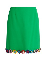 Mary Katrantzou Clovis Guipure Lace Wool Crepe Mini Skirt Green