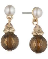 Lonna And Lilly Gold Tone Faux Pearl And Bead Drop Earrings Brown