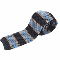 Nick Bronson Knitted Silk Stripe Tie Light Blue Grey Charcoal