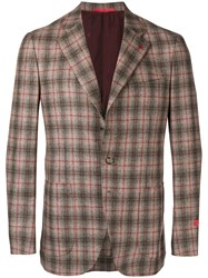 Isaia Checked Blazer Nude And Neutrals