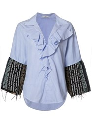 Tome 'Thin Stripe Tweed Ruffle' Shirt Blue