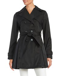 Laundry By Shelli Segal Double Breasted Trench Coat Black