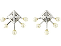 Rebecca Minkoff Pyramid Fan Stud Earrings Imitation Rhodium Pearl Earring Bone