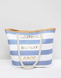 7X Resting Beach Face Stripped Canvas Beach Tote Bag With Rope Handle Multi