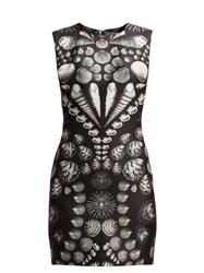Alexander Mcqueen Shell Print Wool Blend Mini Dress Black White