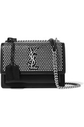 Saint Laurent Sunset Studded Leather Shoulder Bag Black
