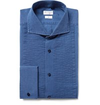 Brunello Cucinelli Blue Slim Fit Bib Front Chambray Tuxedo Shirt Blue