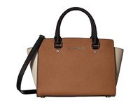 Michael Michael Kors Selma Medium Top Zip Satchel Cashew Ecru Black Satchel Handbags Brown