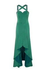 Alexis Mabille Cross Front High Low Gown Green