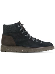 Hogan Lace Up Ankle Boots Leather Rubber Blue