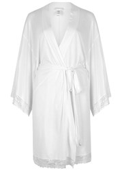 Eberjey Colette Lace Trimmed Jersey Robe White