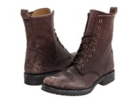 Frye Veronica Combat Dark Brown Stone Wash Women's Lace Up Boots