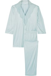 La Perla Lace Trimmed Stretch Jersey Pajama Set Blue