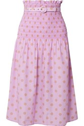 Nicholas Belted Shirred Polka Dot Cotton And Silk Blend Midi Skirt Lavender