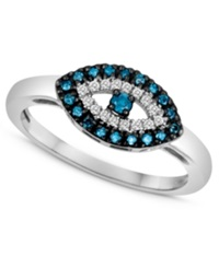 Macy's Sterling Silver Ring Blue Diamond 1 10 Ct. T.W. And White Diamond Accent Evil Eye Ring