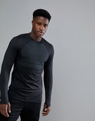 Yourturn Active Thermal Long Sleeve Top In Black Black