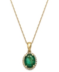 Macy's Emerald And White Sapphire Oval Pendant Necklace In 10K Gold 2 Ct. T.W.