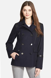 Michael Michael Kors Faux Leather Trim Wool Blend Peacoat Regular And Petite Navy