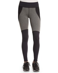 Michi Shadow Net Insert Stretch Sport Leggings Charcoal Heather Black Chrcl Htr Black