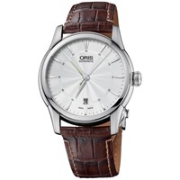 Oris 0173375914091Ls Artelier Men's Leather Strap Watch Silver Black