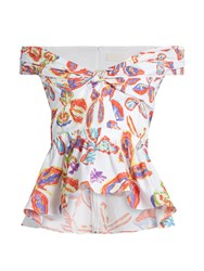 Peter Pilotto Floral Print Peplum Hem Cotton Blend Top White Print