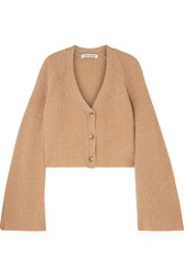 Elizabeth And James Cabot Cropped Ribbed Merino Wool Cashmere Blend Cardigan Camel Gbp