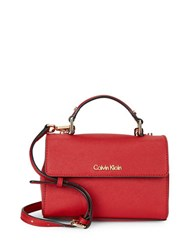 Calvin Klein Saffiano Leather Crossbody Red