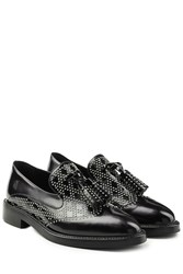 Burberry Shoes And Accessories Stud Embellished Leather Loafers Black