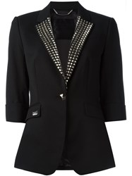 Philipp Plein Studded Lapel Blazer Black