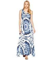 Hale Bob Sunny Disposition Stretch Satin Maxi Blue Dress