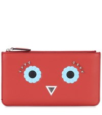 Fendi Embellished Leather Pouch Red