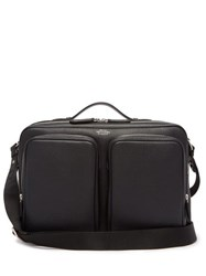 Smythson Foiled Logo Grained Leather Messenger Bag Black