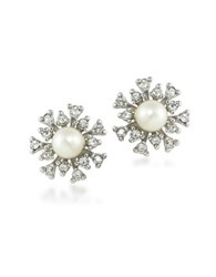 Carolee 21 Club 6Mm Faux Pearl Burst Studded Pierced Earrings White