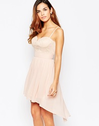 Elise Ryan Lace Sweetheart Skater Dress With High Low Hem Nude