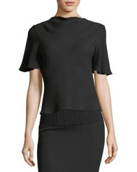 Brandon Maxwell Cowl Neck Drape Back Crepe Blouse Black