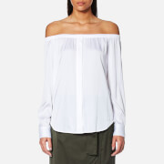 Dkny Women's Long Sleeve Off The Shoulder Button Through Shirt White