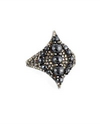 Bavna Black Spinel And Champagne Diamond Pointed Ring Size 7