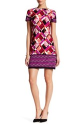 London Times Geo Puzzle Boarder Short Sleeve Shift Dress Petite Pink