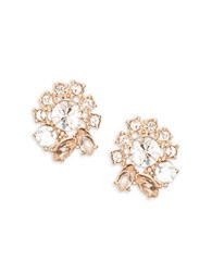 Marchesa Crystal Cluster Button Stud Earrings Rose Gold