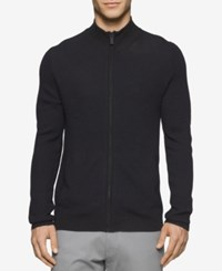 Calvin Klein Men's Plaited Zip Up Sweater Black Combo