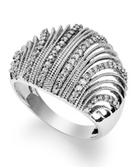 Macy's Diamond Shell Ring In Sterling Silver 1 2 Ct. T.W.