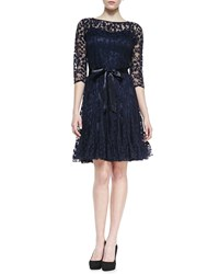 3 4 Sleeve Lace Overlay Cocktail Dress Navy Navy Rickie Freeman For Teri Jon