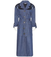 Miu Miu Velvet Trimmed Denim Coat Blue
