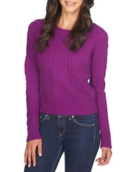 1 State Patterned Crew Sweater Bright Fig