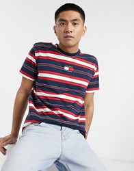 Tommy Jeans Chest Flag Logo Stripe T Shirt In Navy