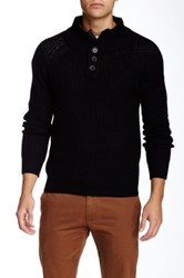 Yoki 3 4 High Collar Button Down Pullover Black
