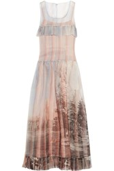Fendi Royal Garden Printed Silk Organza Gown Sky Blue