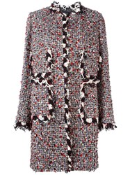 Giambattista Valli Collarless Tweed Coat Multicolour