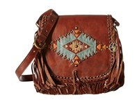 American West Pueblo Moon Fringe Flap Crossbody Chestnut Brown Cross Body Handbags